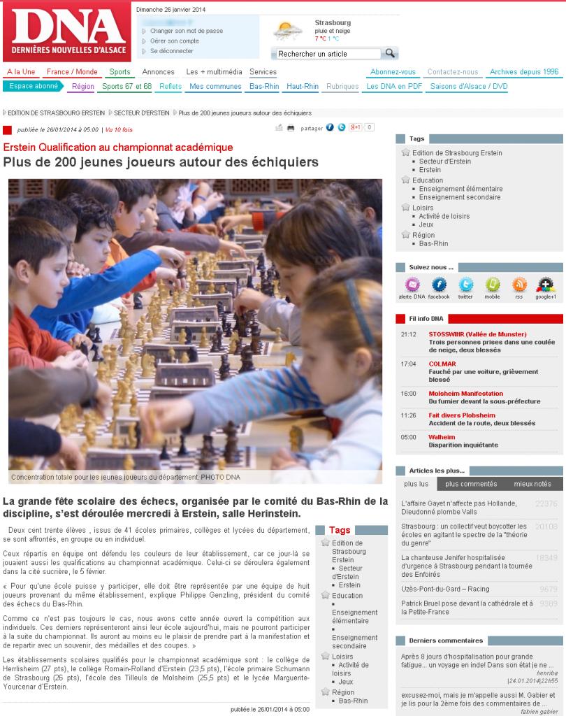 DNA - Secteur d Erstein - Plus de 200 jeunes joueurs autour des echiquiers