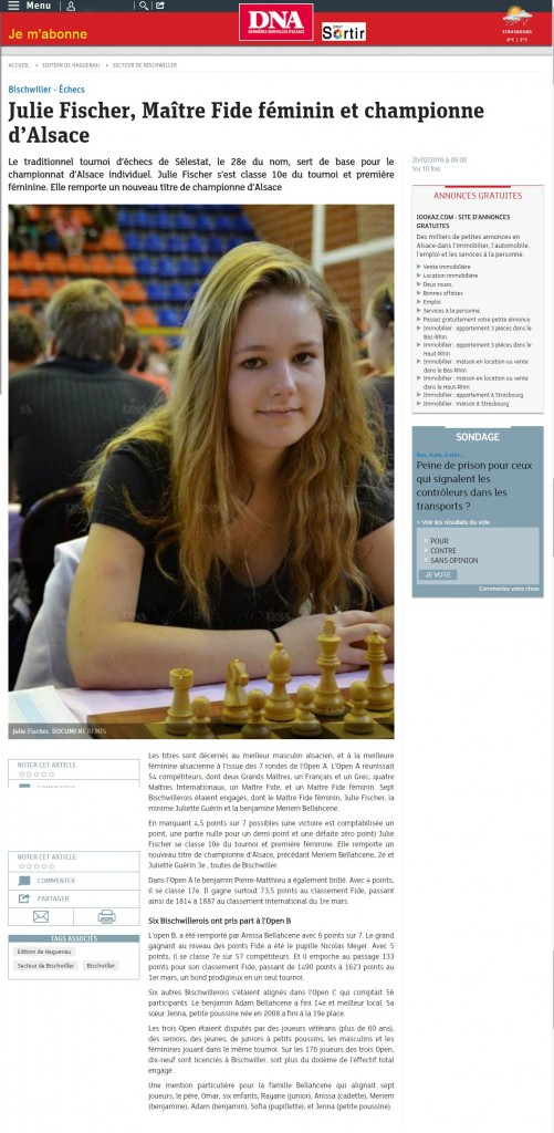 Julie Fischer - Maitre Fide feminin - Championne dalsace
