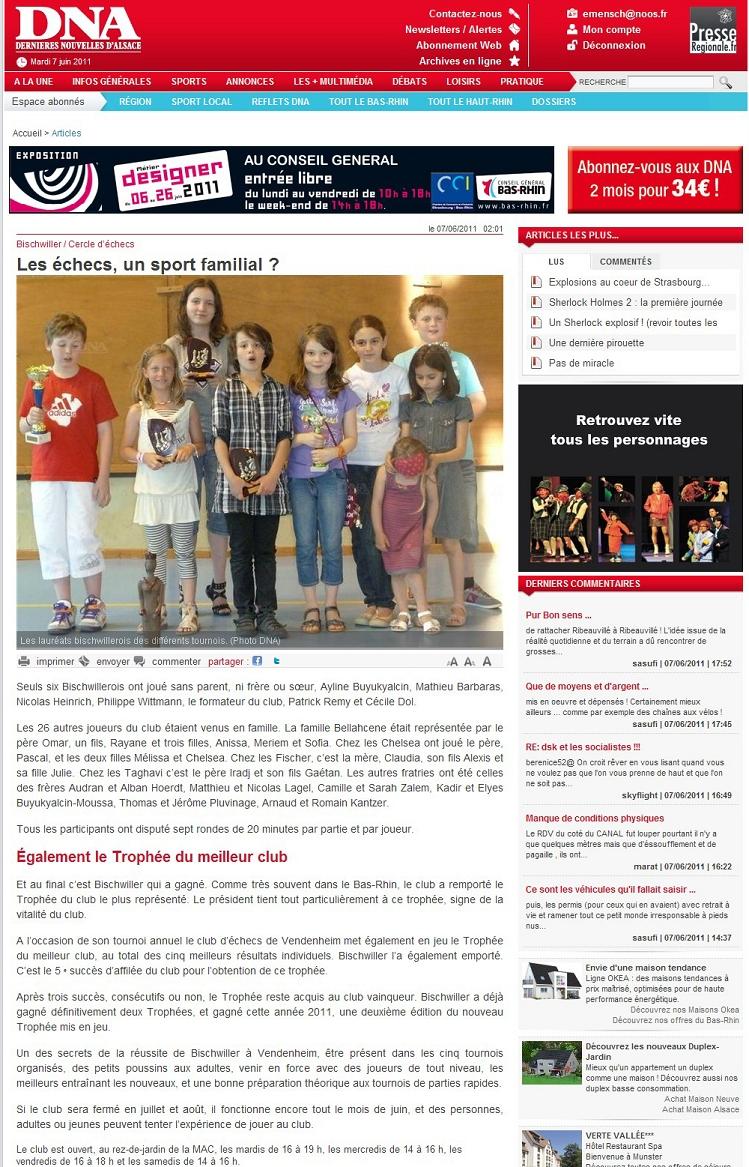 Article paru dans l'édition des Dernières Nouvelles d'Alsace du 7 Juin 2011