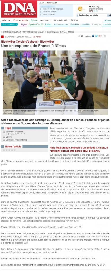 Une championne de France à Nîmes - Article DNA